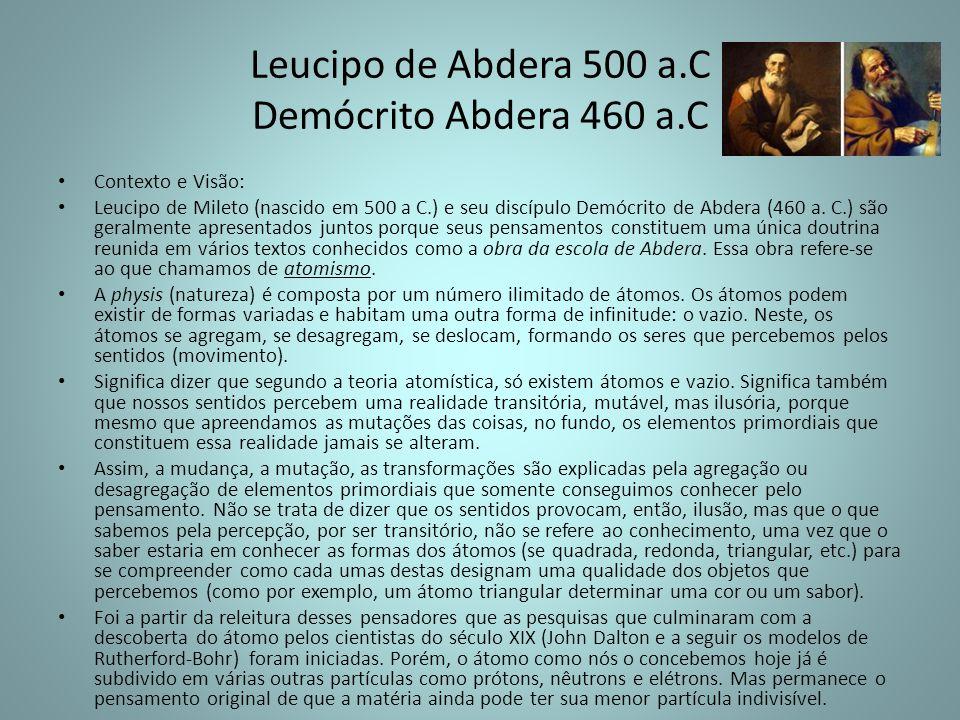 Leucipo de Abdera 500 a.C Demócrito Abdera 460 a.C