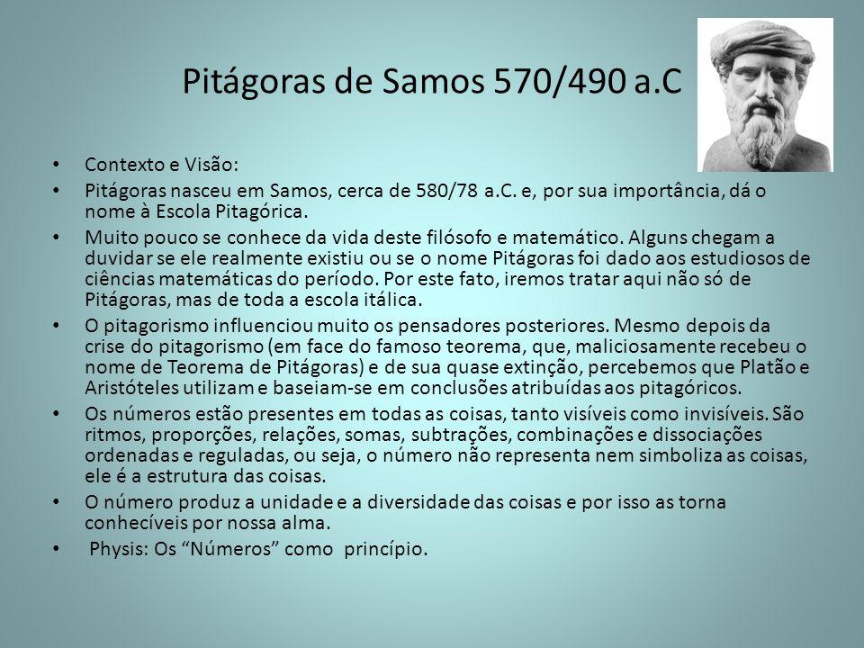 Pitágoras de Samos 570/490 a.C Contexto e Visão:
