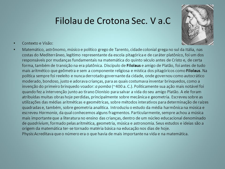 Filolau de Crotona Sec. V a.C
