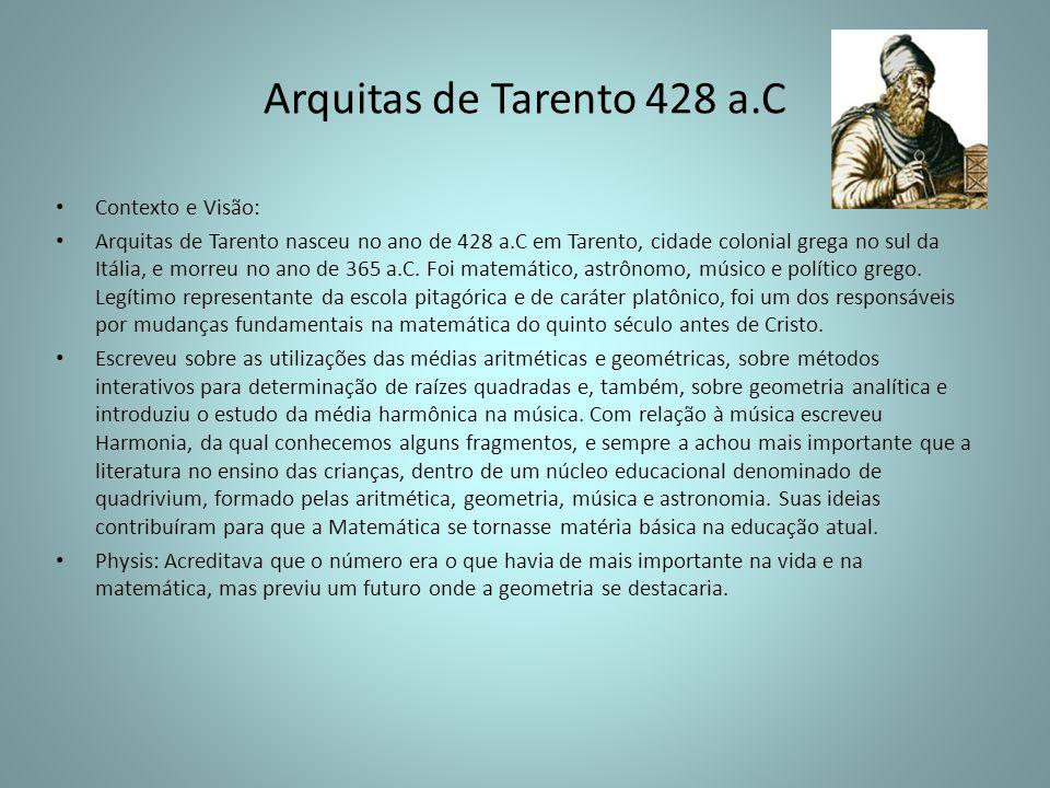 Arquitas de Tarento 428 a.C Contexto e Visão: