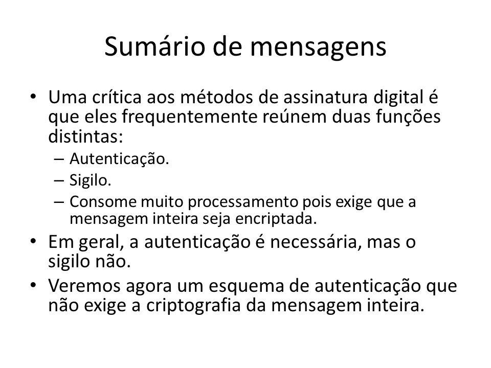 Sumário de mensagens Uma crítica aos métodos de assinatura digital é que eles frequentemente reúnem duas funções distintas: