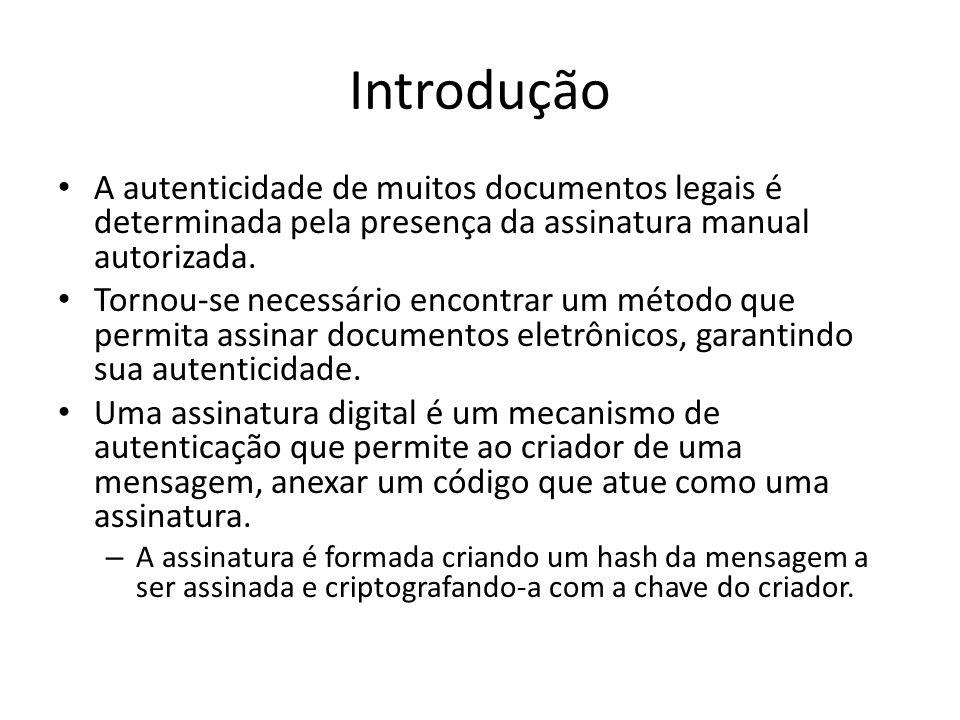 Introdução A autenticidade de muitos documentos legais é determinada pela presença da assinatura manual autorizada.
