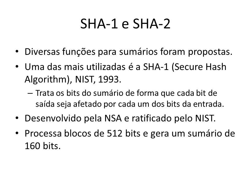SHA-1 e SHA-2 Diversas funções para sumários foram propostas.