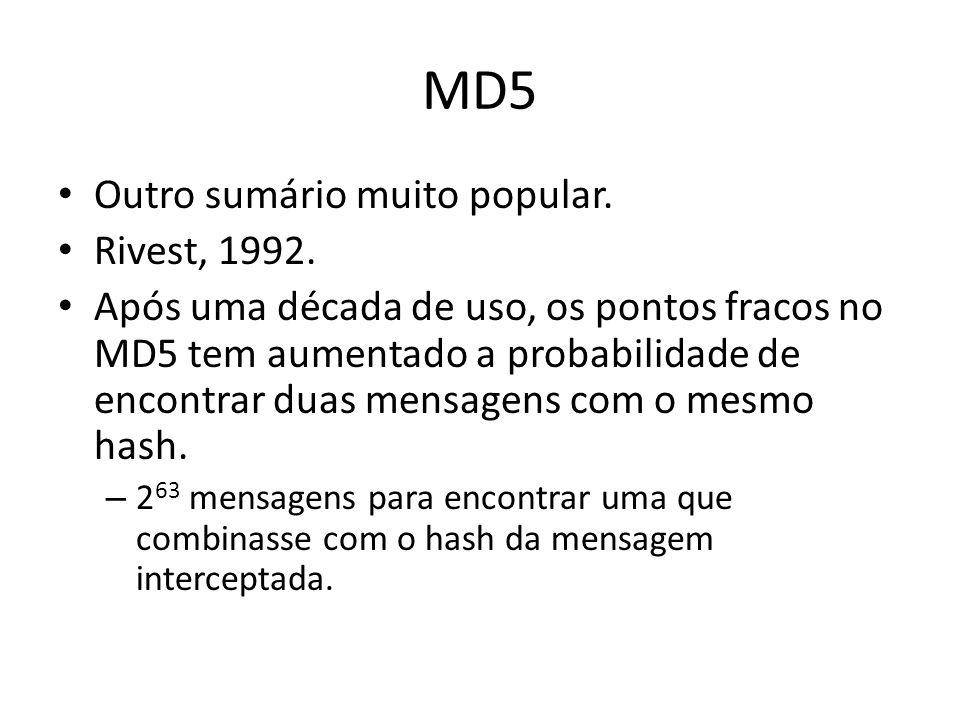MD5 Outro sumário muito popular. Rivest, 1992.