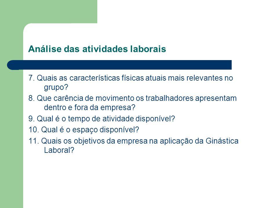 Análise das atividades laborais