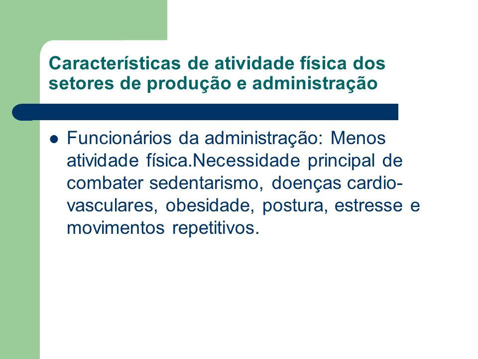 Características de atividade física dos setores de produção e administração
