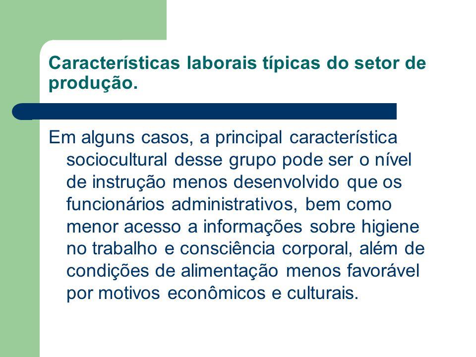 Características laborais típicas do setor de produção.