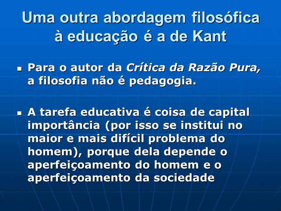 Uma outra abordagem filosófica à educação é a de Kant