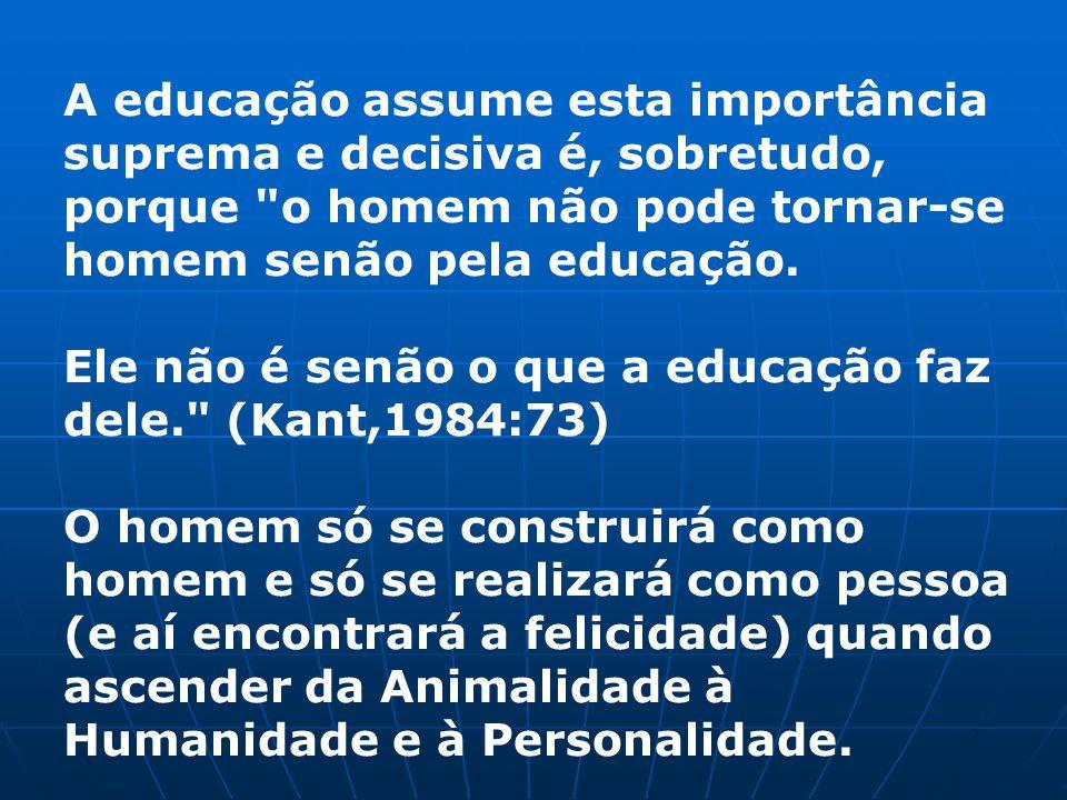 A educação assume esta importância suprema e decisiva é, sobretudo, porque o homem não pode tornar-se homem senão pela educação.