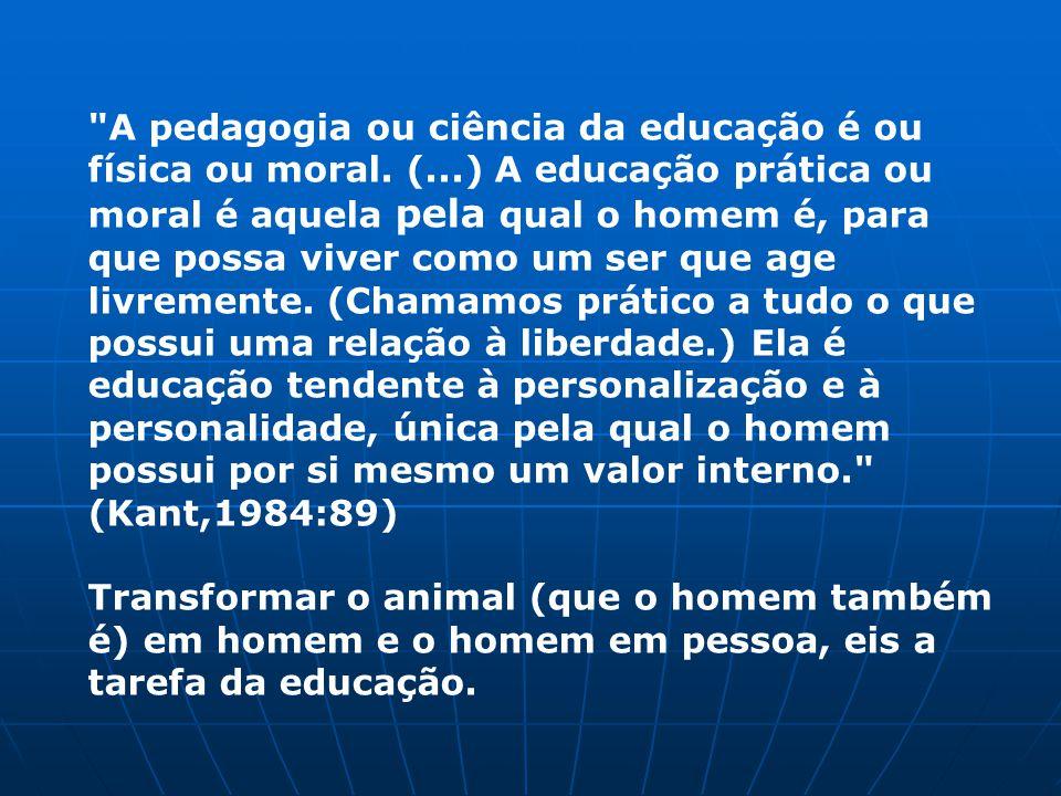 A pedagogia ou ciência da educação é ou física ou moral. (