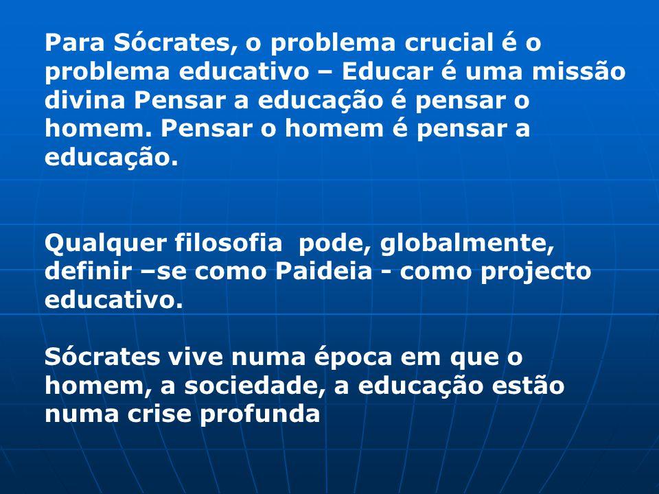 Para Sócrates, o problema crucial é o problema educativo – Educar é uma missão divina Pensar a educação é pensar o homem. Pensar o homem é pensar a educação.