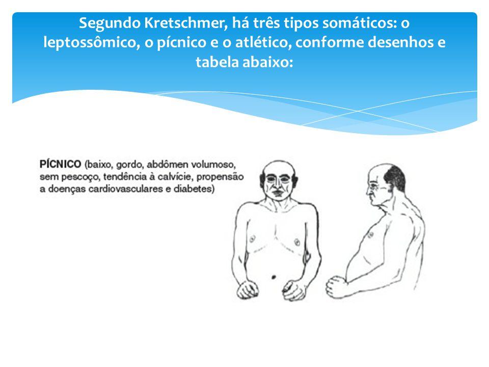 Segundo Kretschmer, há três tipos somáticos: o leptossômico, o pícnico e o atlético, conforme desenhos e tabela abaixo: