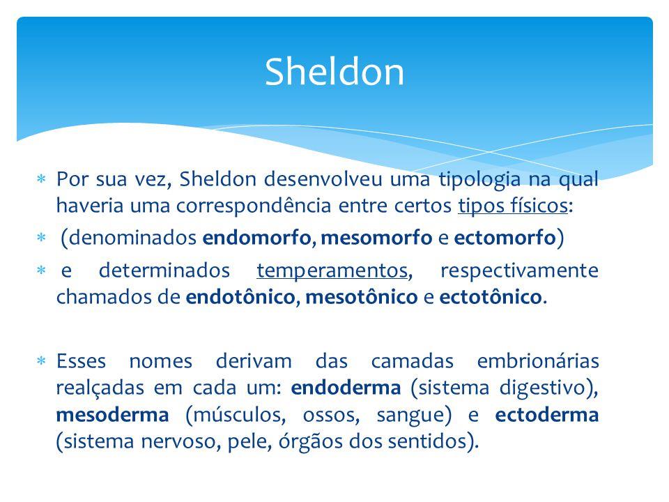 Sheldon Por sua vez, Sheldon desenvolveu uma tipologia na qual haveria uma correspondência entre certos tipos físicos: