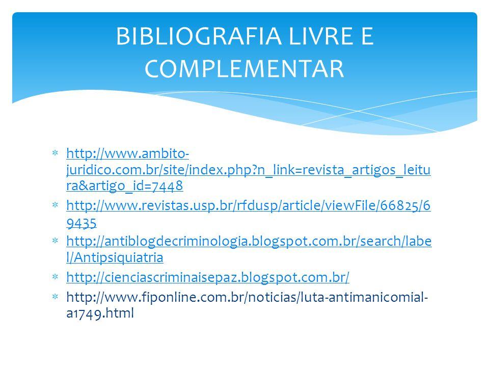BIBLIOGRAFIA LIVRE E COMPLEMENTAR