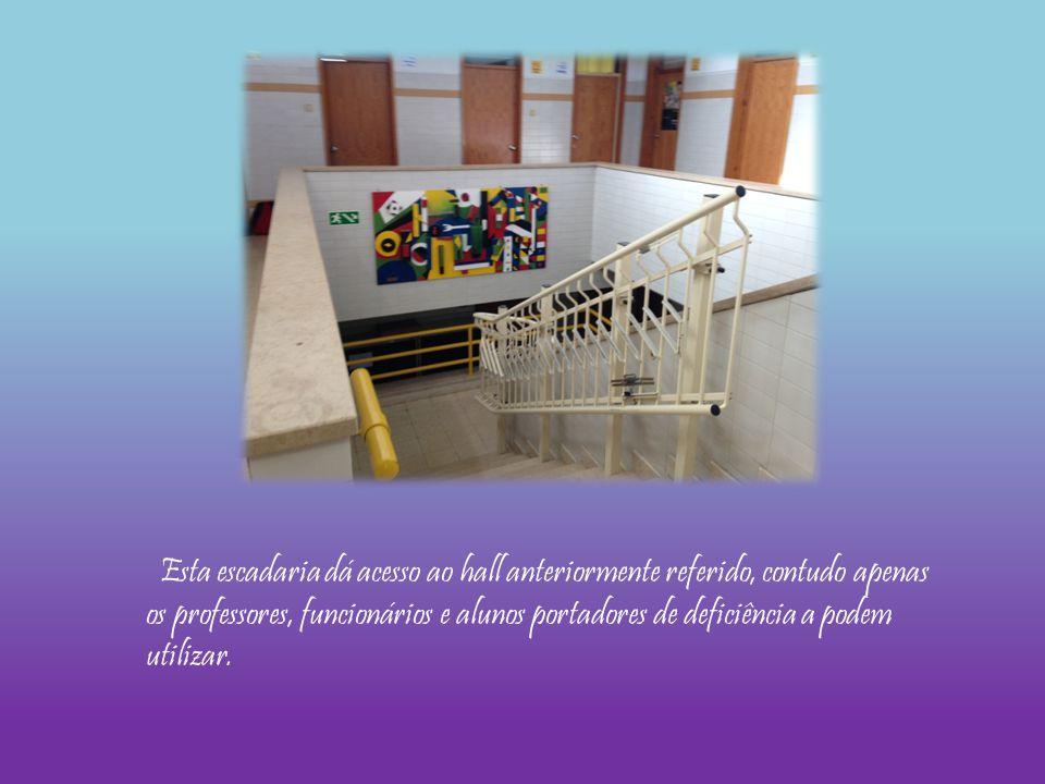 Esta escadaria dá acesso ao hall anteriormente referido, contudo apenas os professores, funcionários e alunos portadores de deficiência a podem utilizar.