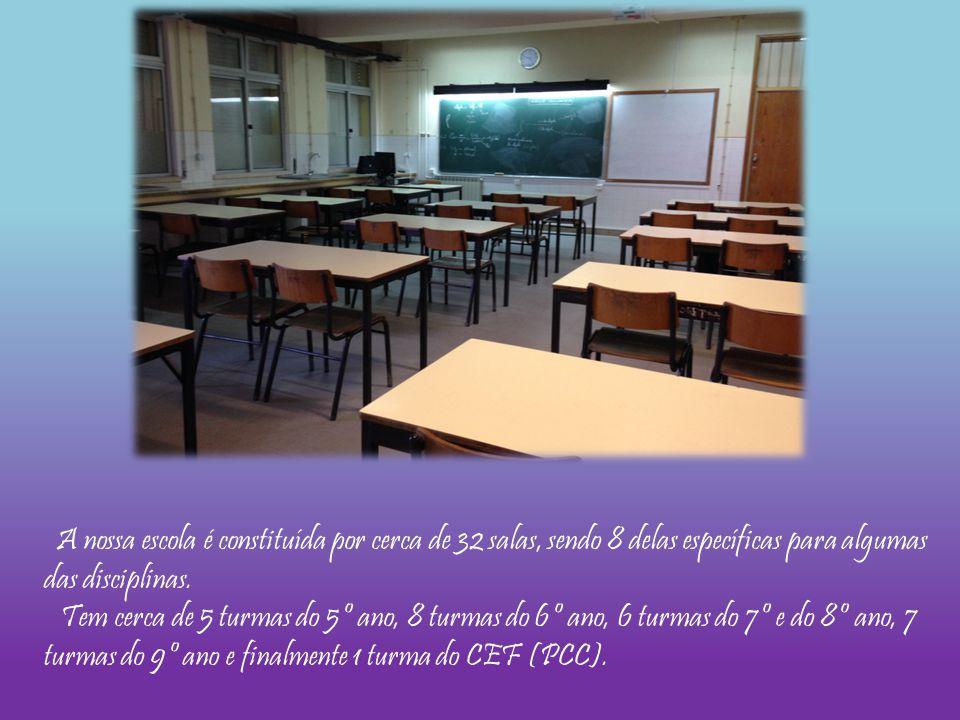 A nossa escola é constituída por cerca de 32 salas, sendo 8 delas específicas para algumas das disciplinas.