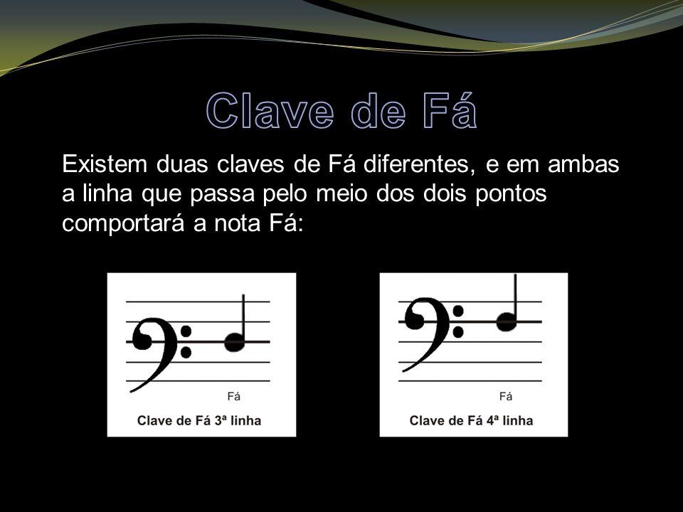 Clave de Fá Existem duas claves de Fá diferentes, e em ambas a linha que passa pelo meio dos dois pontos comportará a nota Fá: