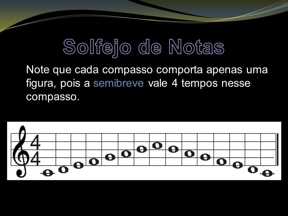 Solfejo de Notas Note que cada compasso comporta apenas uma figura, pois a semibreve vale 4 tempos nesse compasso.