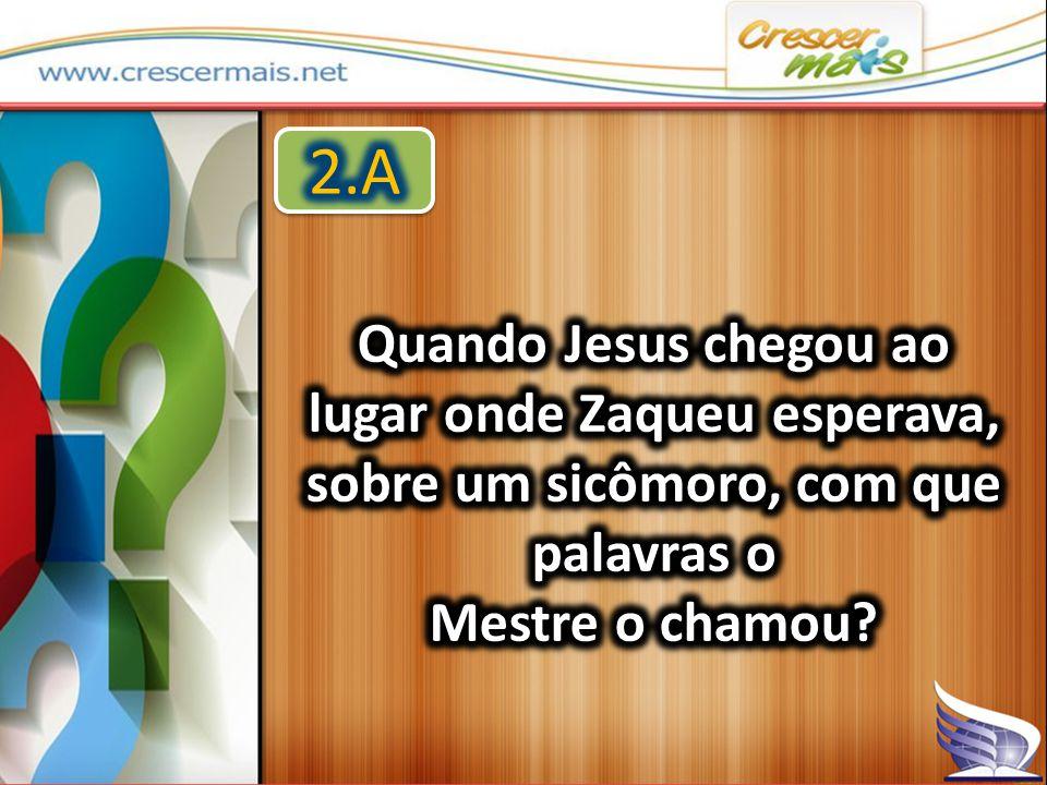 2.A Quando Jesus chegou ao lugar onde Zaqueu esperava, sobre um sicômoro, com que palavras o.