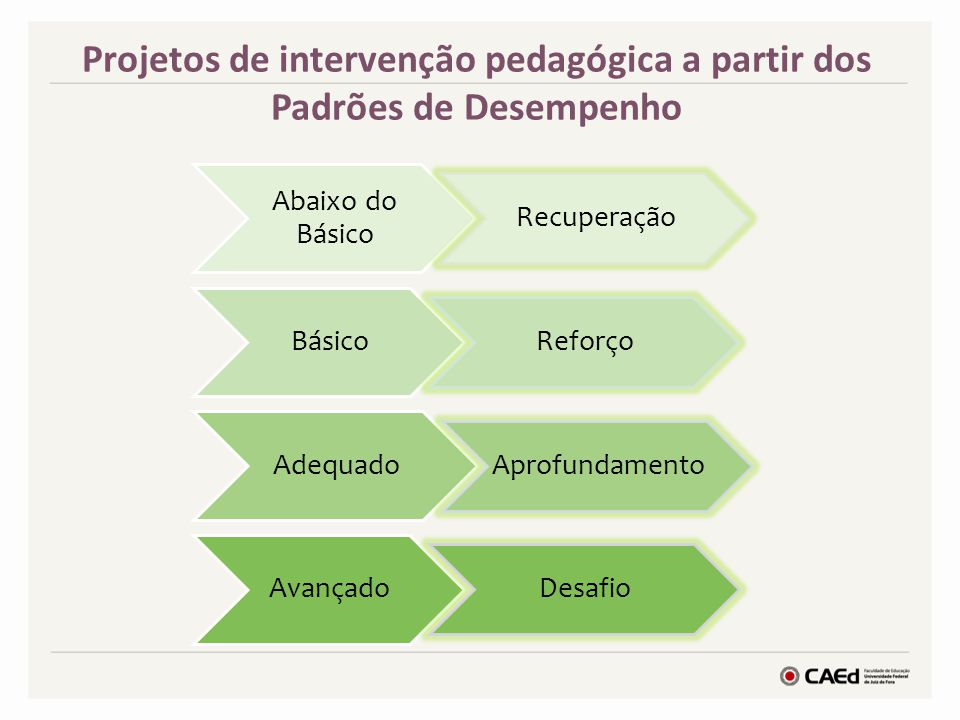 Projetos de intervenção pedagógica a partir dos Padrões de Desempenho