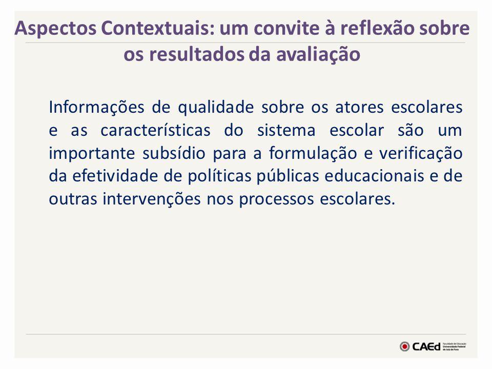 Aspectos Contextuais: um convite à reflexão sobre os resultados da avaliação
