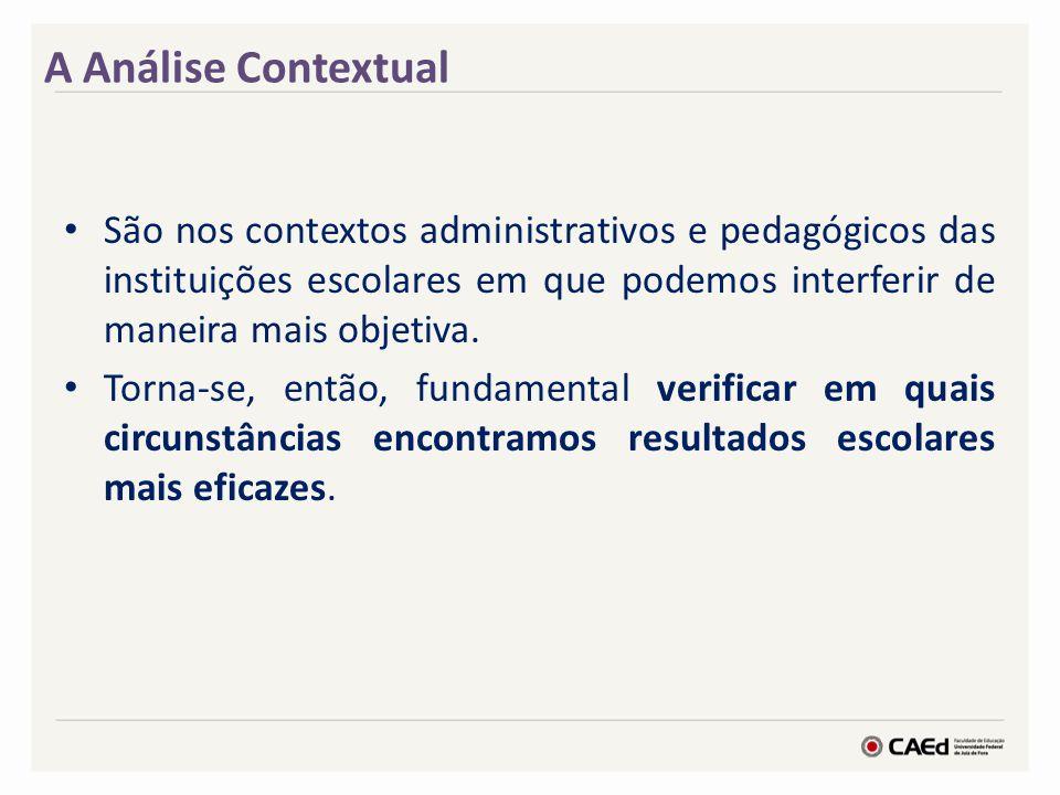 A Análise Contextual São nos contextos administrativos e pedagógicos das instituições escolares em que podemos interferir de maneira mais objetiva.