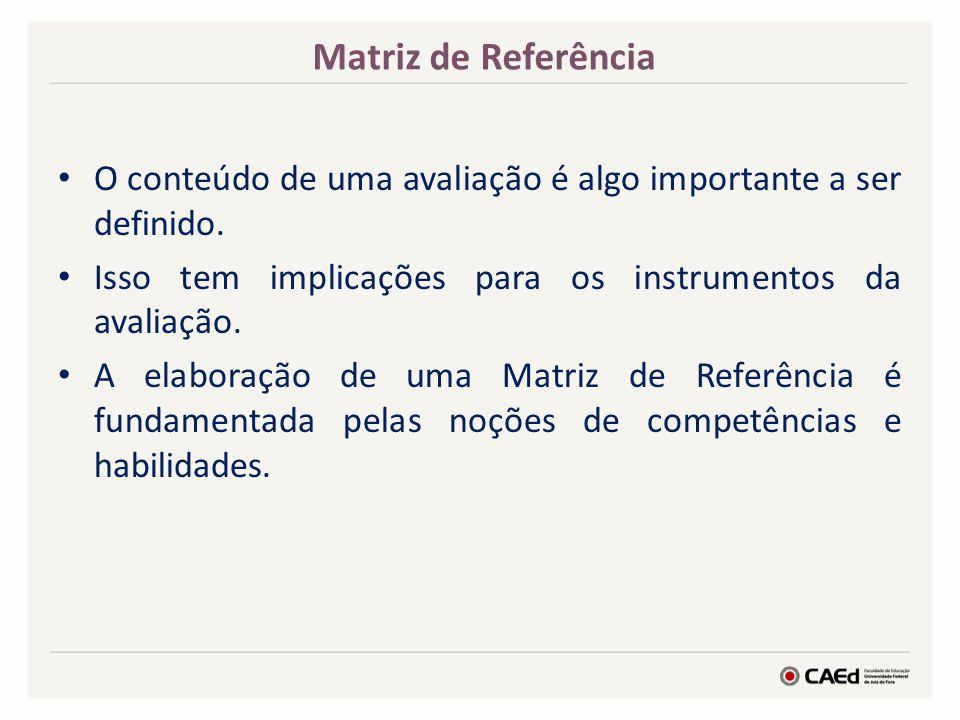 Matriz de Referência O conteúdo de uma avaliação é algo importante a ser definido. Isso tem implicações para os instrumentos da avaliação.
