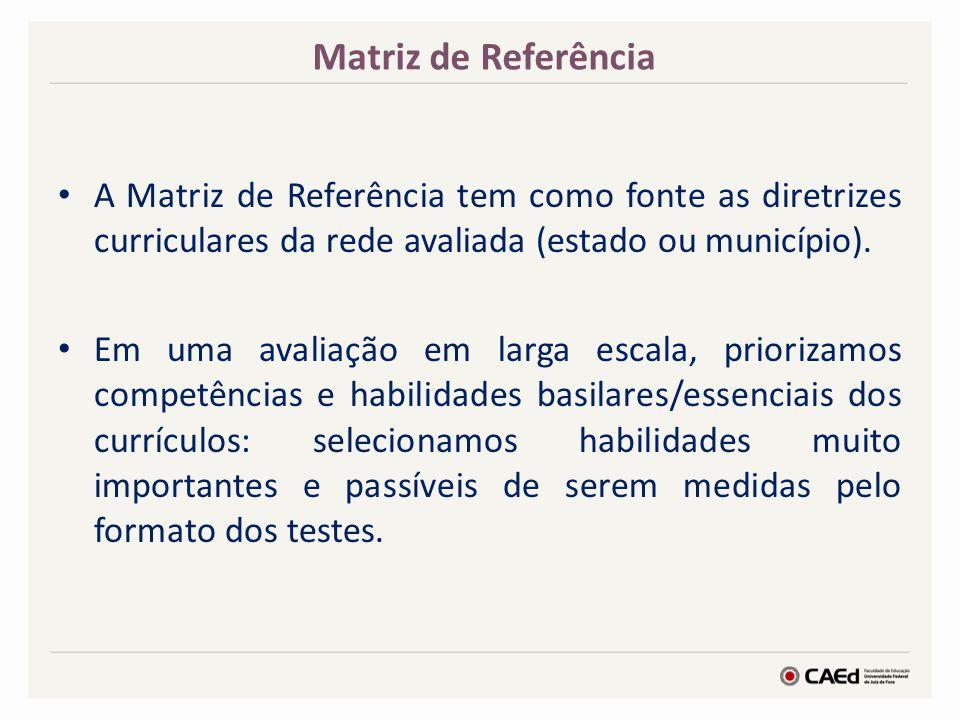 Matriz de Referência A Matriz de Referência tem como fonte as diretrizes curriculares da rede avaliada (estado ou município).