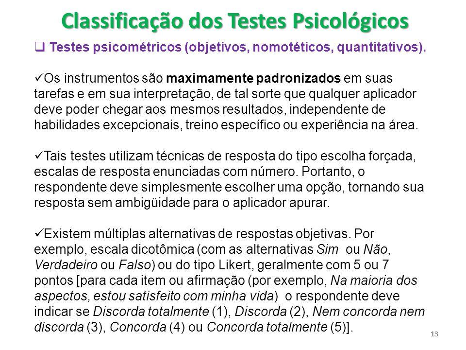 Classificação dos Testes Psicológicos
