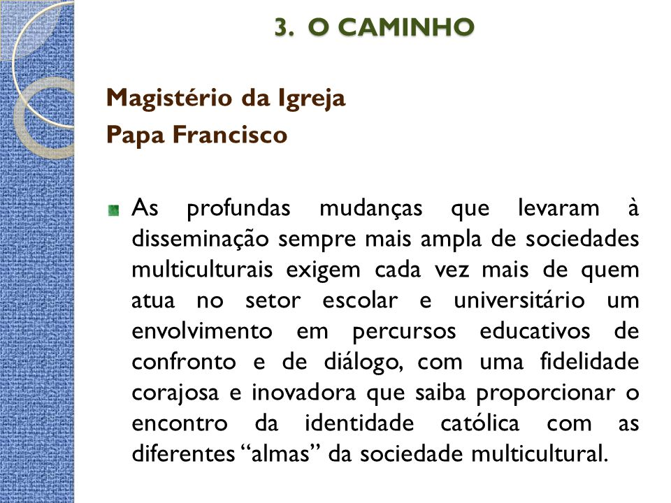 3. O CAMINHO Magistério da Igreja Papa Francisco
