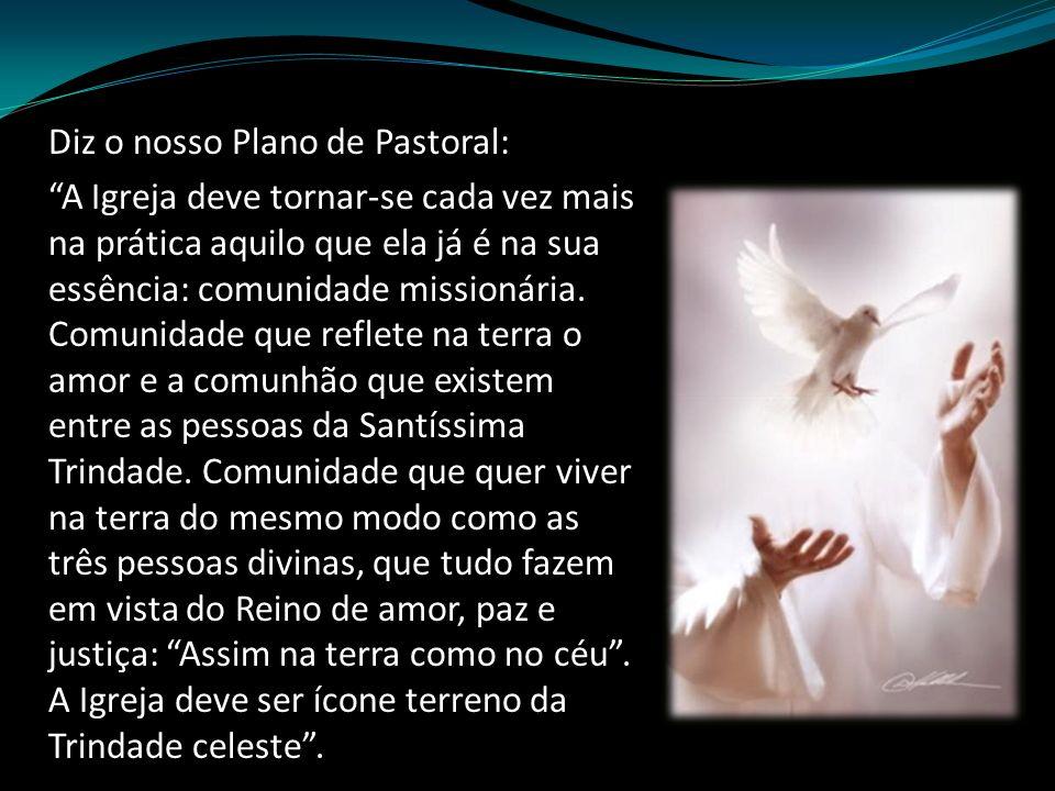 Diz o nosso Plano de Pastoral: A Igreja deve tornar-se cada vez mais na prática aquilo que ela já é na sua essência: comunidade missionária.