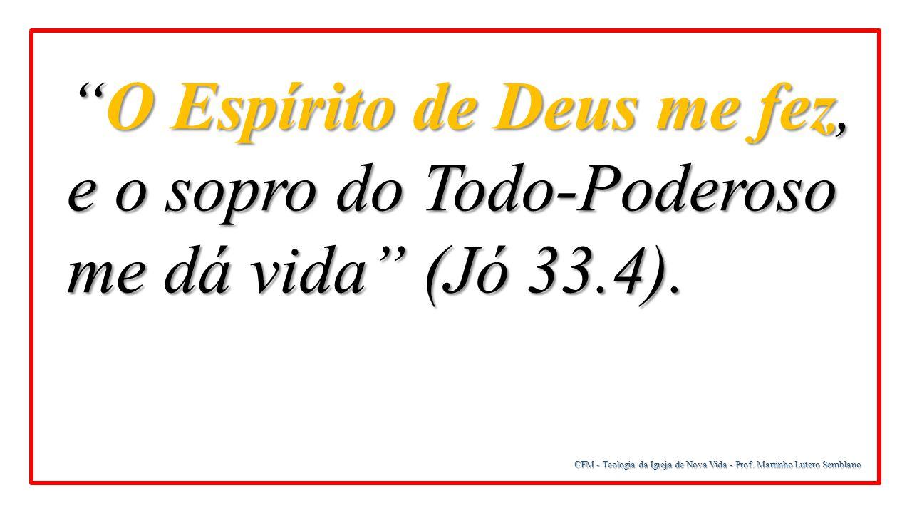 O Espírito de Deus me fez, e o sopro do Todo-Poderoso me dá vida (Jó 33.4).