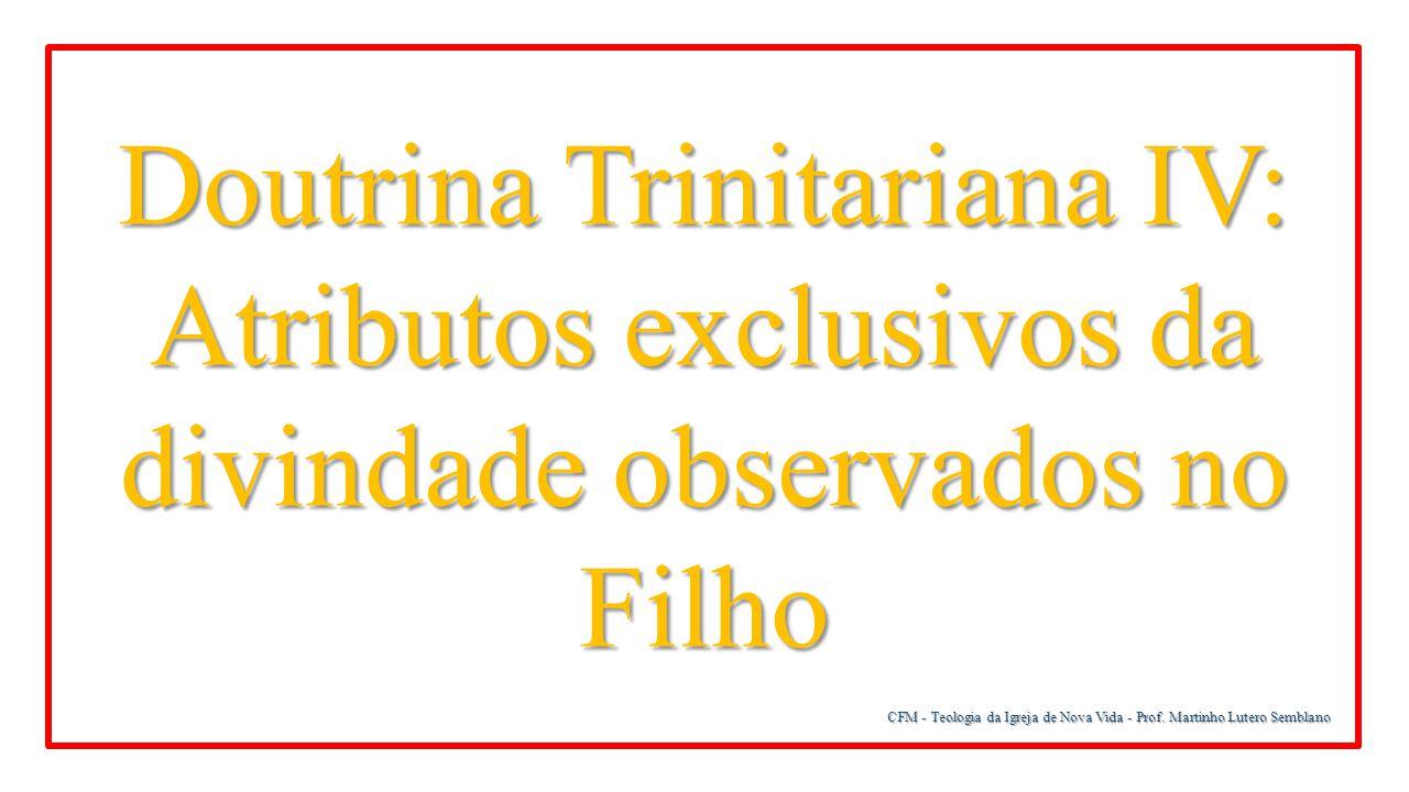 Doutrina Trinitariana IV: Atributos exclusivos da divindade observados no Filho