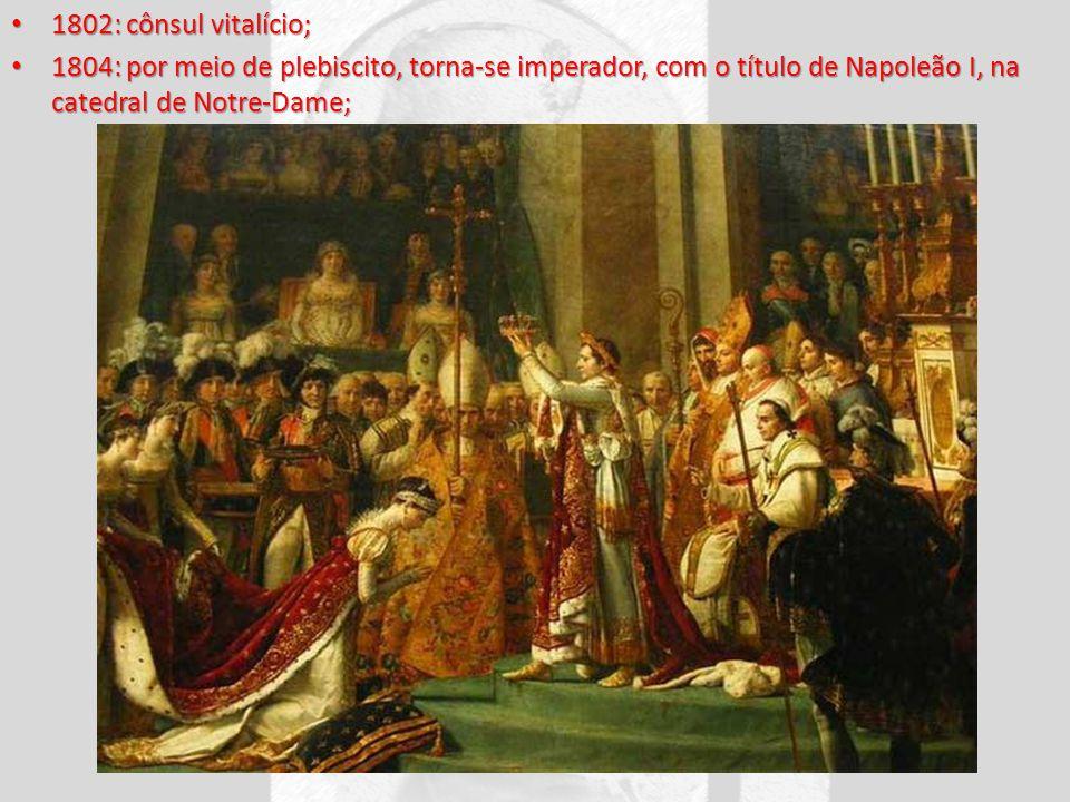 1802: cônsul vitalício; 1804: por meio de plebiscito, torna-se imperador, com o título de Napoleão I, na catedral de Notre-Dame;