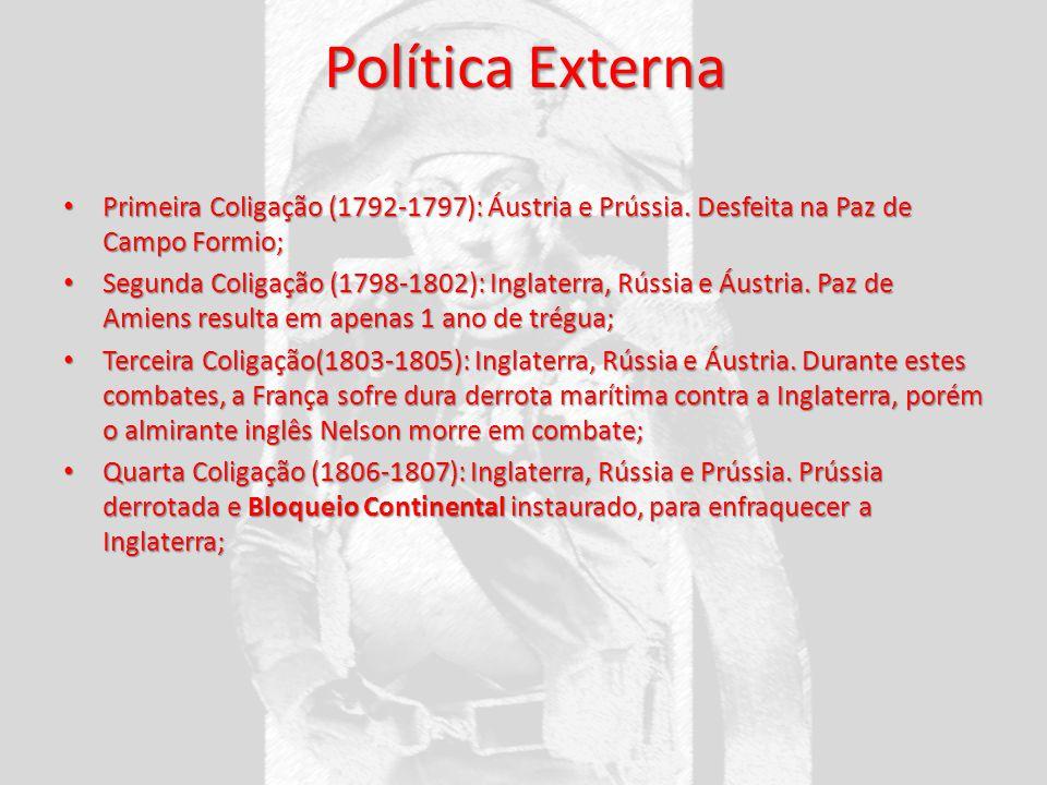 Política Externa Primeira Coligação (1792-1797): Áustria e Prússia. Desfeita na Paz de Campo Formio;