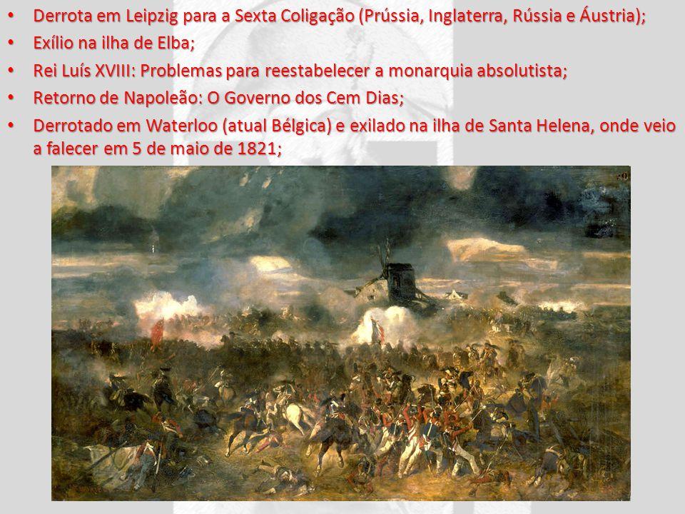 Derrota em Leipzig para a Sexta Coligação (Prússia, Inglaterra, Rússia e Áustria);