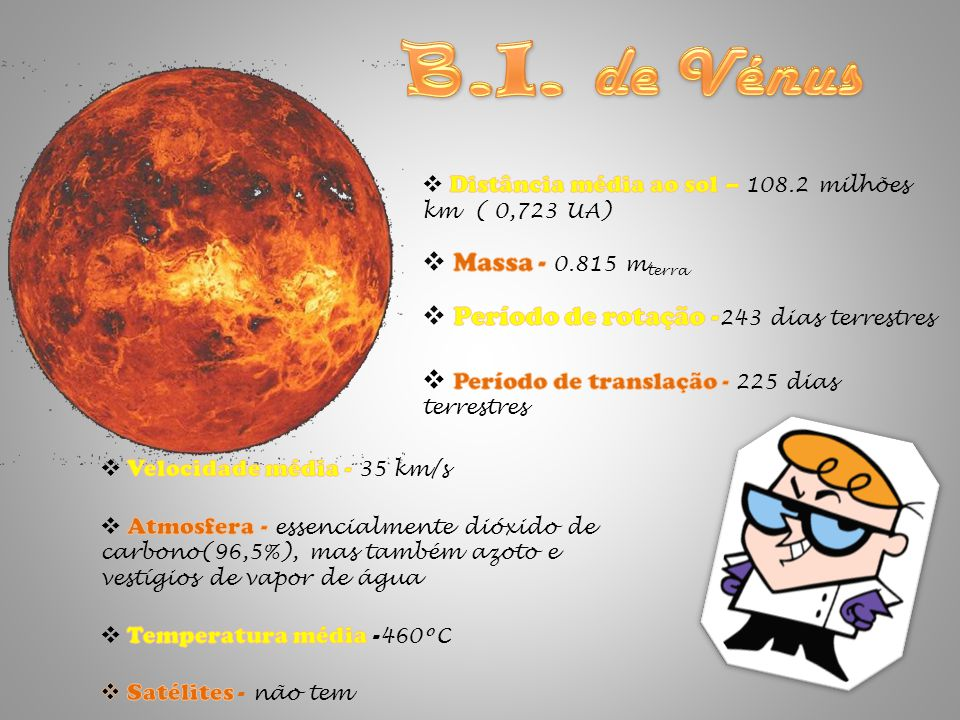 B.I. de Vénus Massa - 0.815 mterra