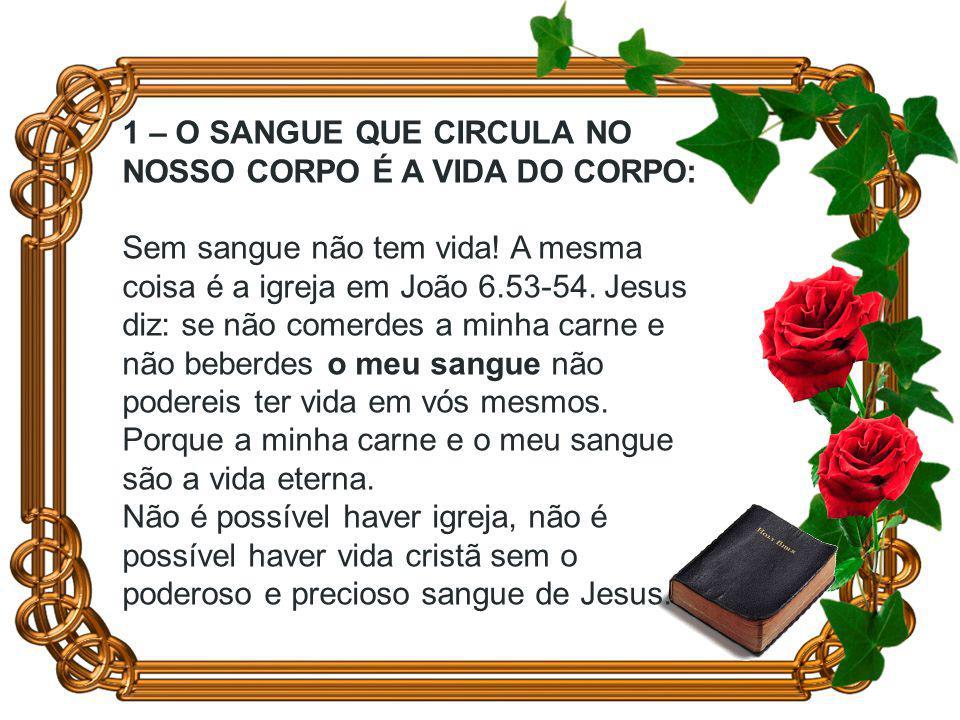 1 – O SANGUE QUE CIRCULA NO NOSSO CORPO É A VIDA DO CORPO: