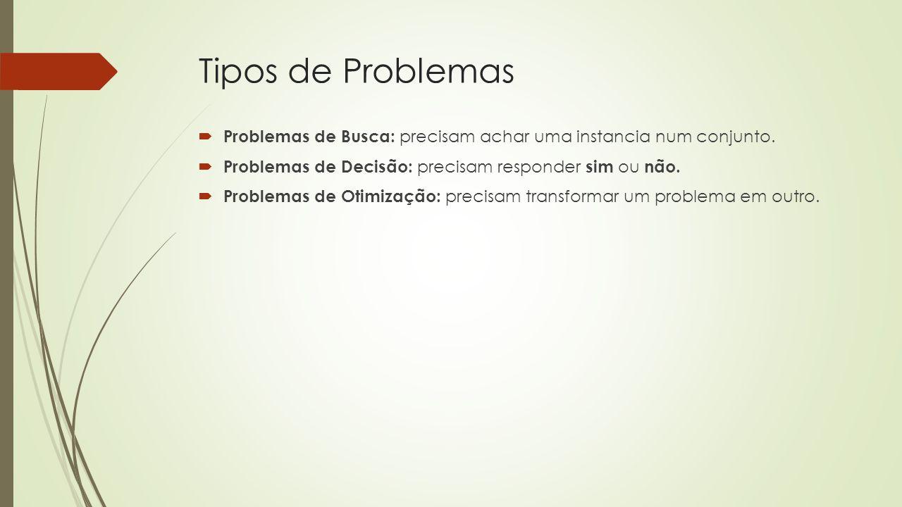 Tipos de Problemas Problemas de Busca: precisam achar uma instancia num conjunto. Problemas de Decisão: precisam responder sim ou não.