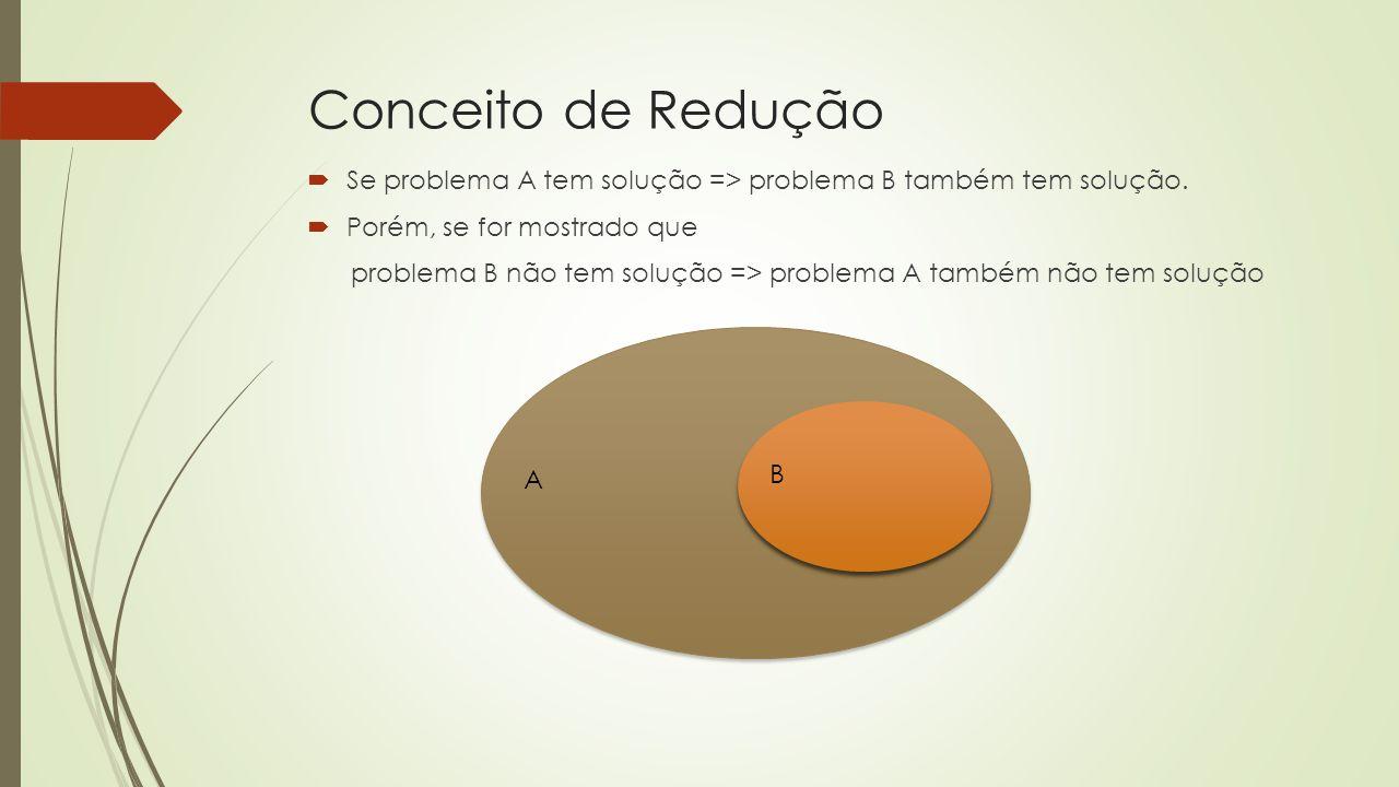 Conceito de Redução Se problema A tem solução => problema B também tem solução. Porém, se for mostrado que.