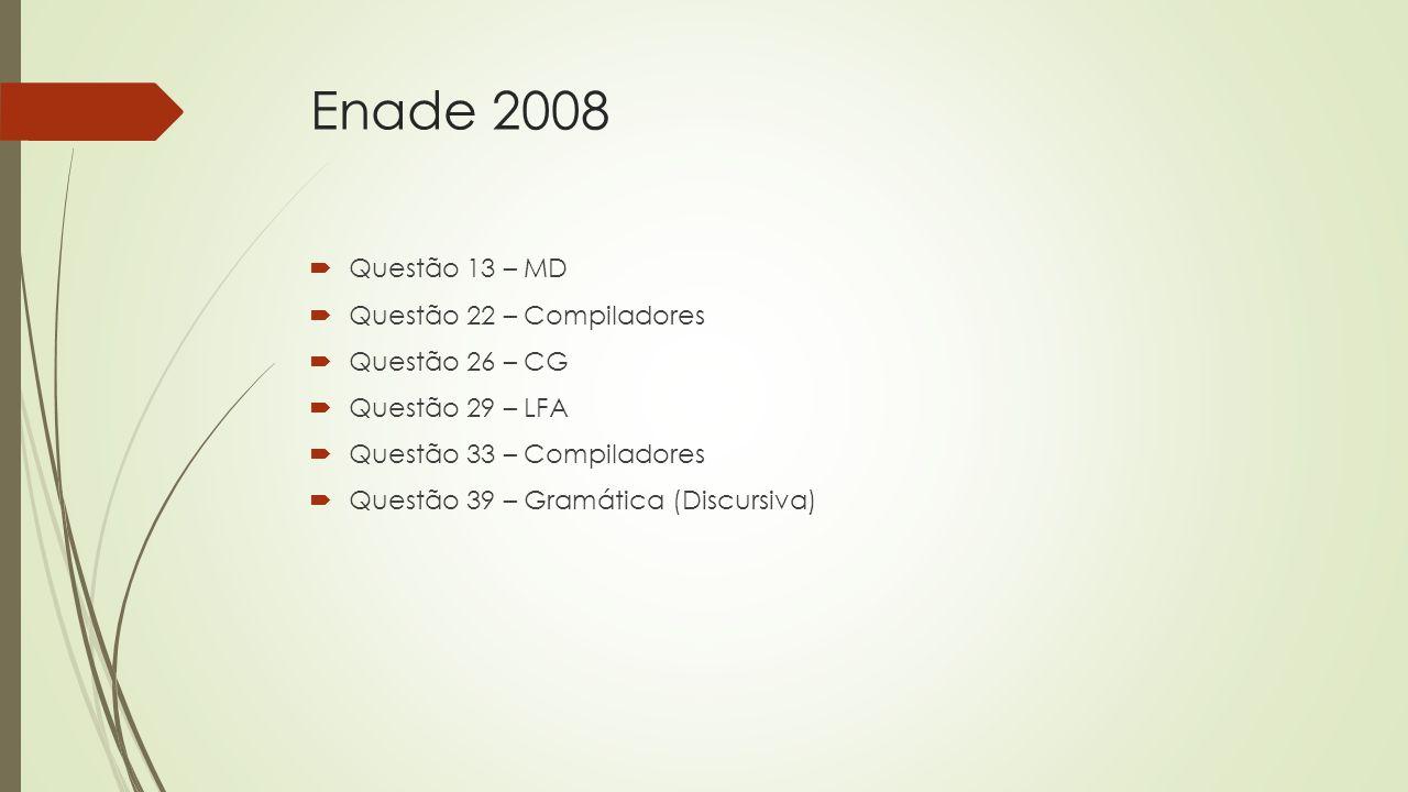 Enade 2008 Questão 13 – MD Questão 22 – Compiladores Questão 26 – CG