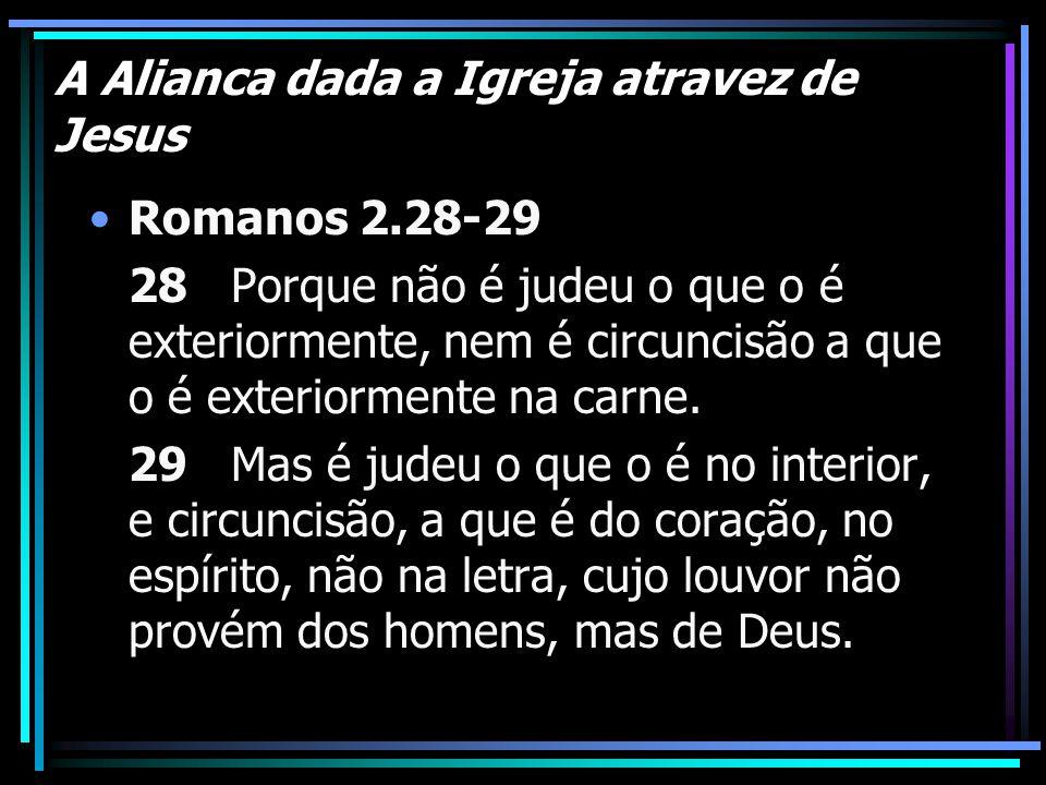 A Alianca dada a Igreja atravez de Jesus