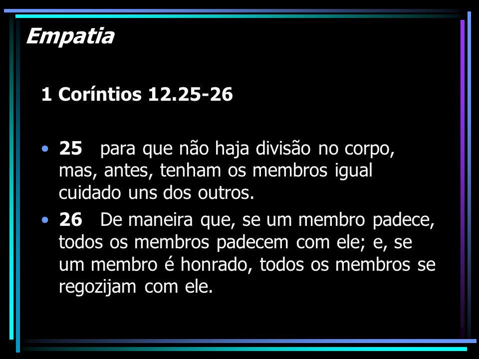 Empatia 1 Coríntios 12.25-26. 25 para que não haja divisão no corpo, mas, antes, tenham os membros igual cuidado uns dos outros.