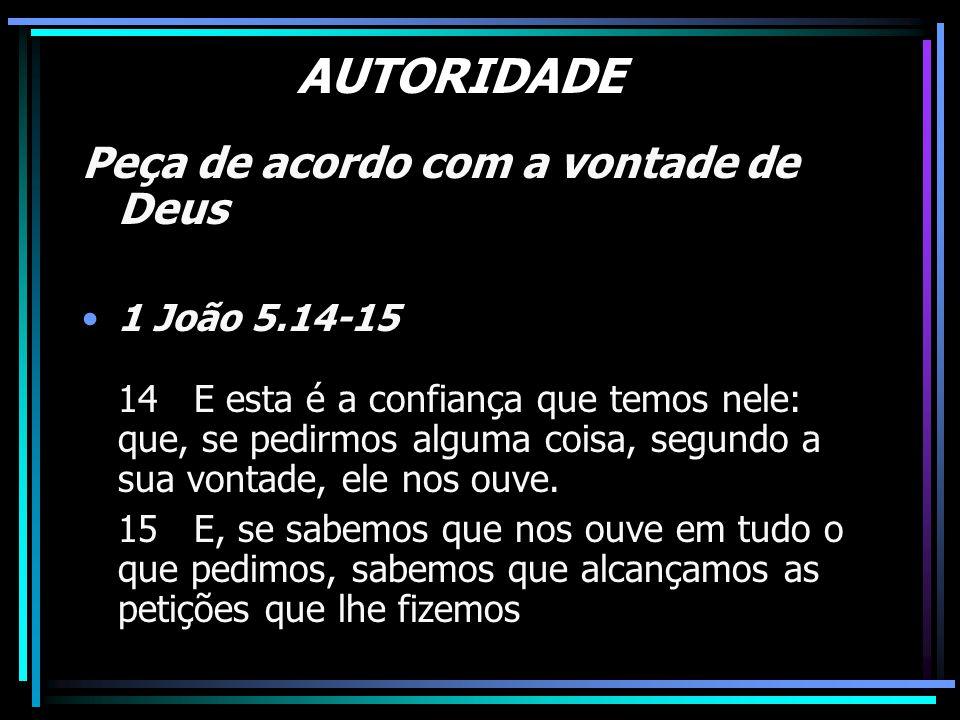 AUTORIDADE Peça de acordo com a vontade de Deus