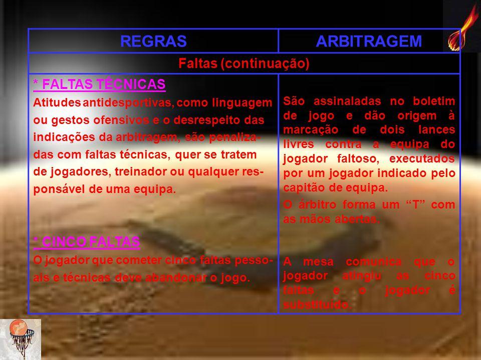 REGRAS ARBITRAGEM Faltas (continuação) * FALTAS TÉCNICAS