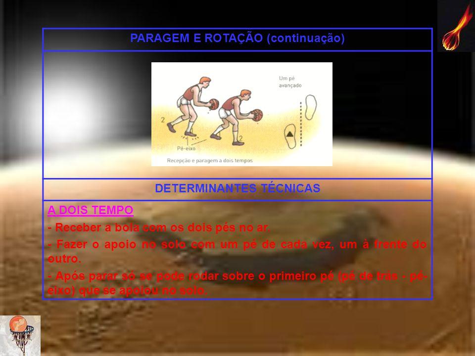 PARAGEM E ROTAÇÃO (continuação) DETERMINANTES TÉCNICAS