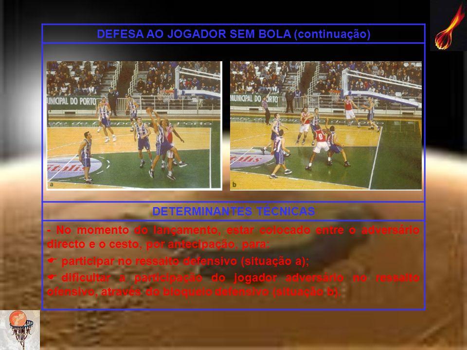 DEFESA AO JOGADOR SEM BOLA (continuação) DETERMINANTES TÉCNICAS