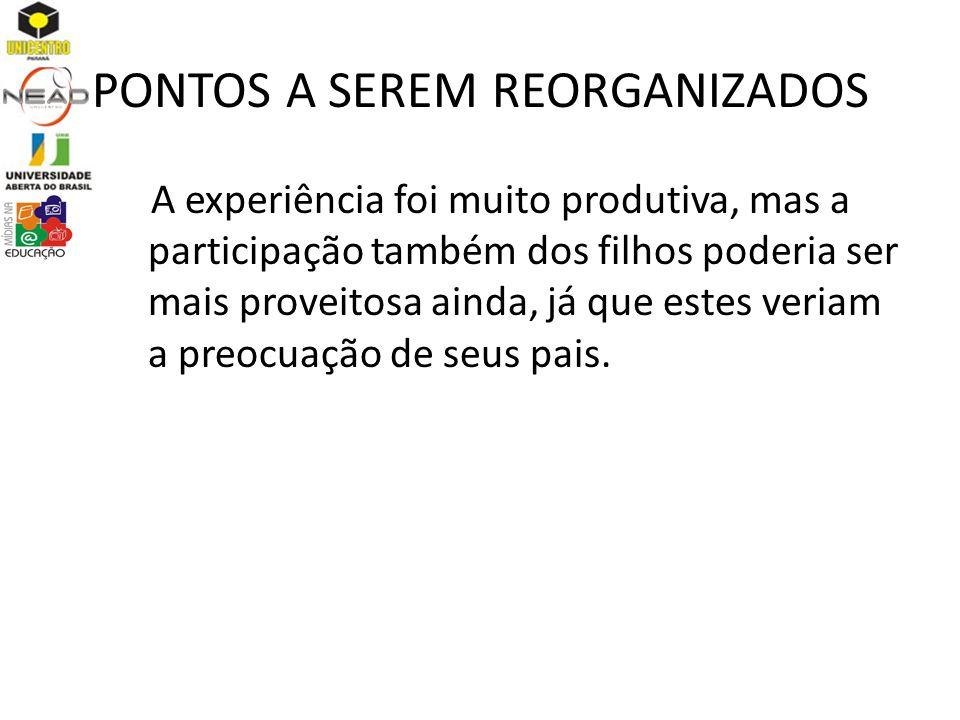 PONTOS A SEREM REORGANIZADOS
