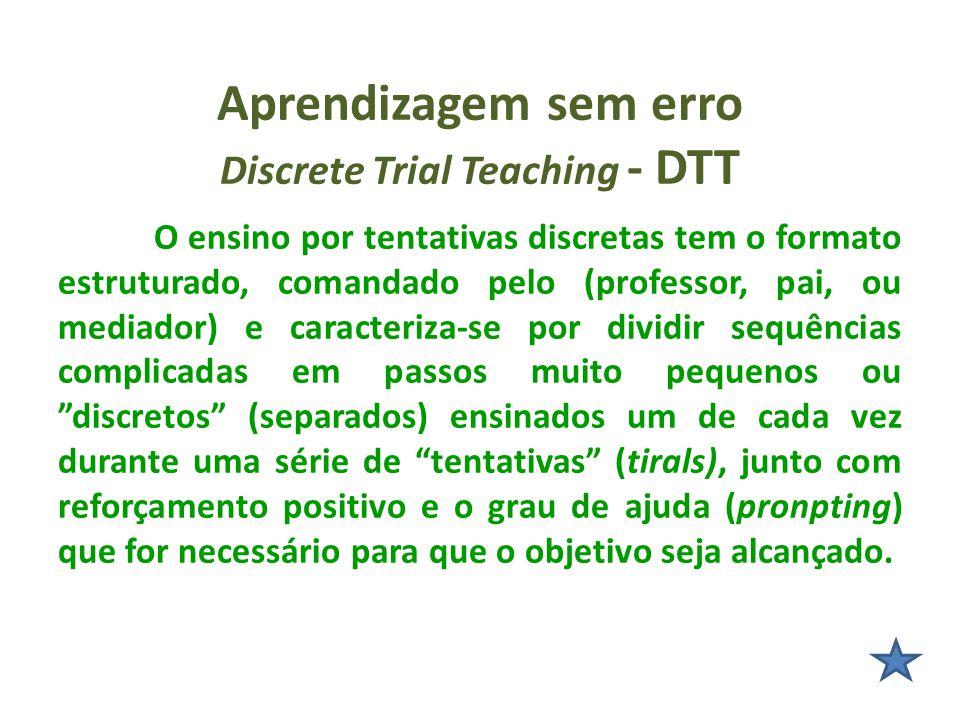 Aprendizagem sem erro Discrete Trial Teaching - DTT