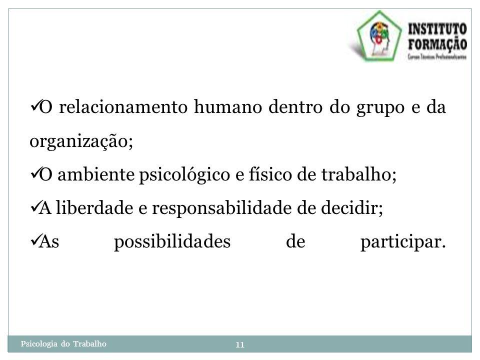 O relacionamento humano dentro do grupo e da organização;